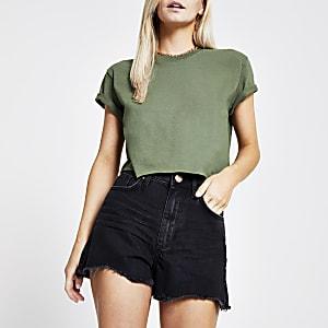 Petite – Annie – Schwarze Shorts mit hohem Bund