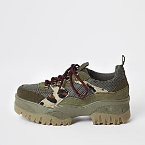 Kaki stevige wandelsneakers