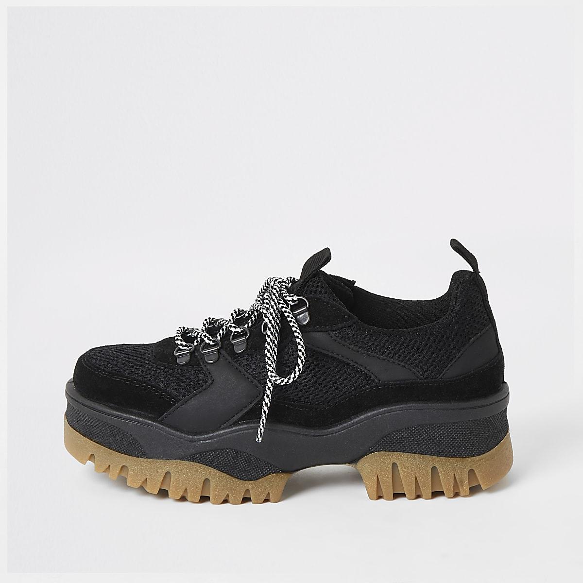 Black hiker chunky sneakers