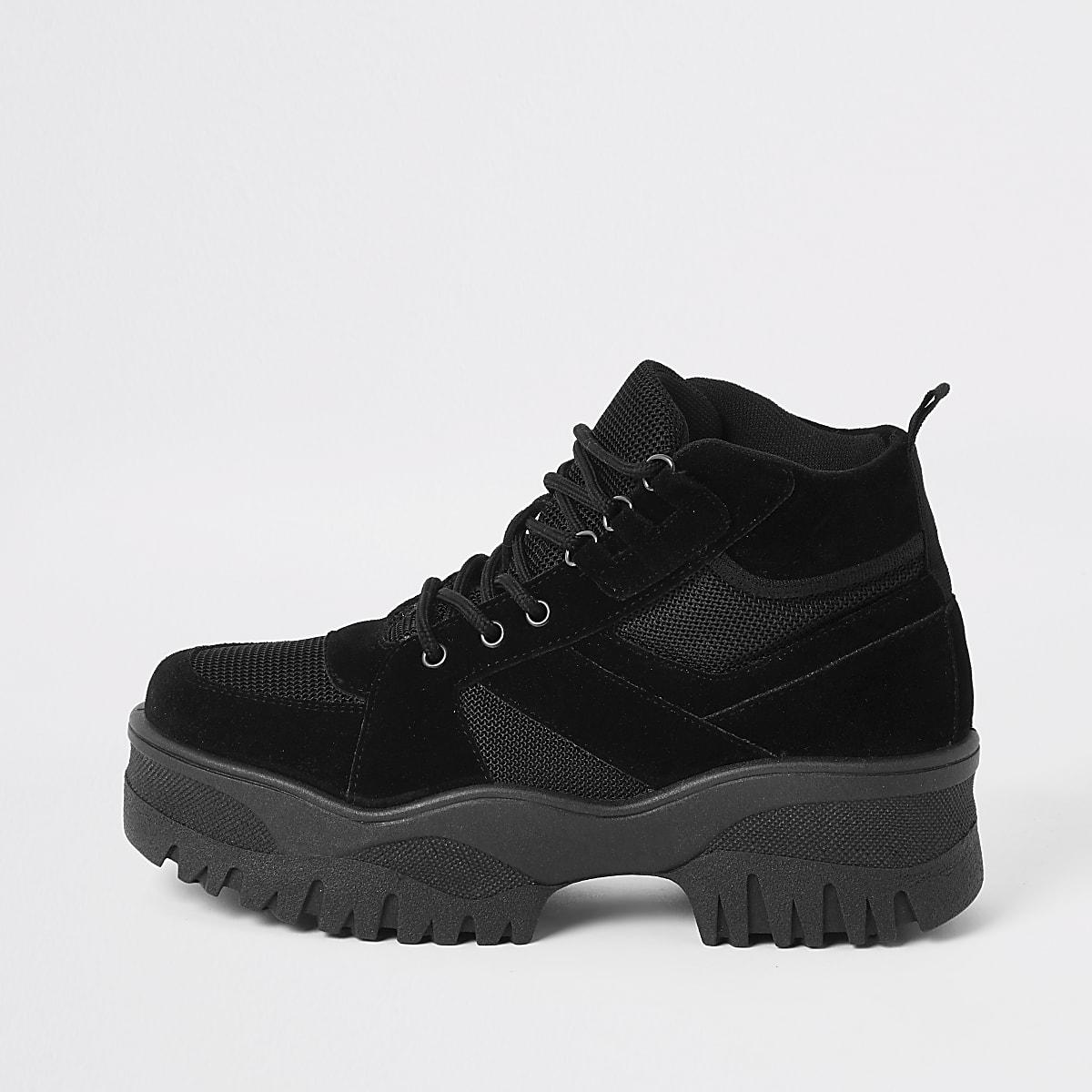 Chaussures épaisses imitation daim noires style randonnée