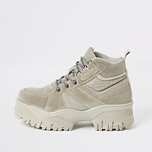 Beige faux suede chunky hiking boots