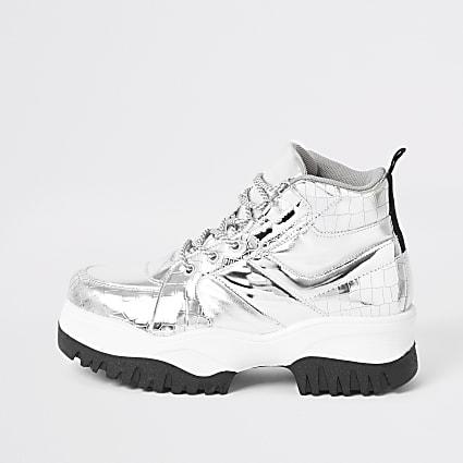 Silver metallic chunky hiking boots