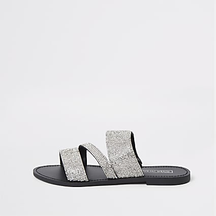 Silver diamante embellished sandals