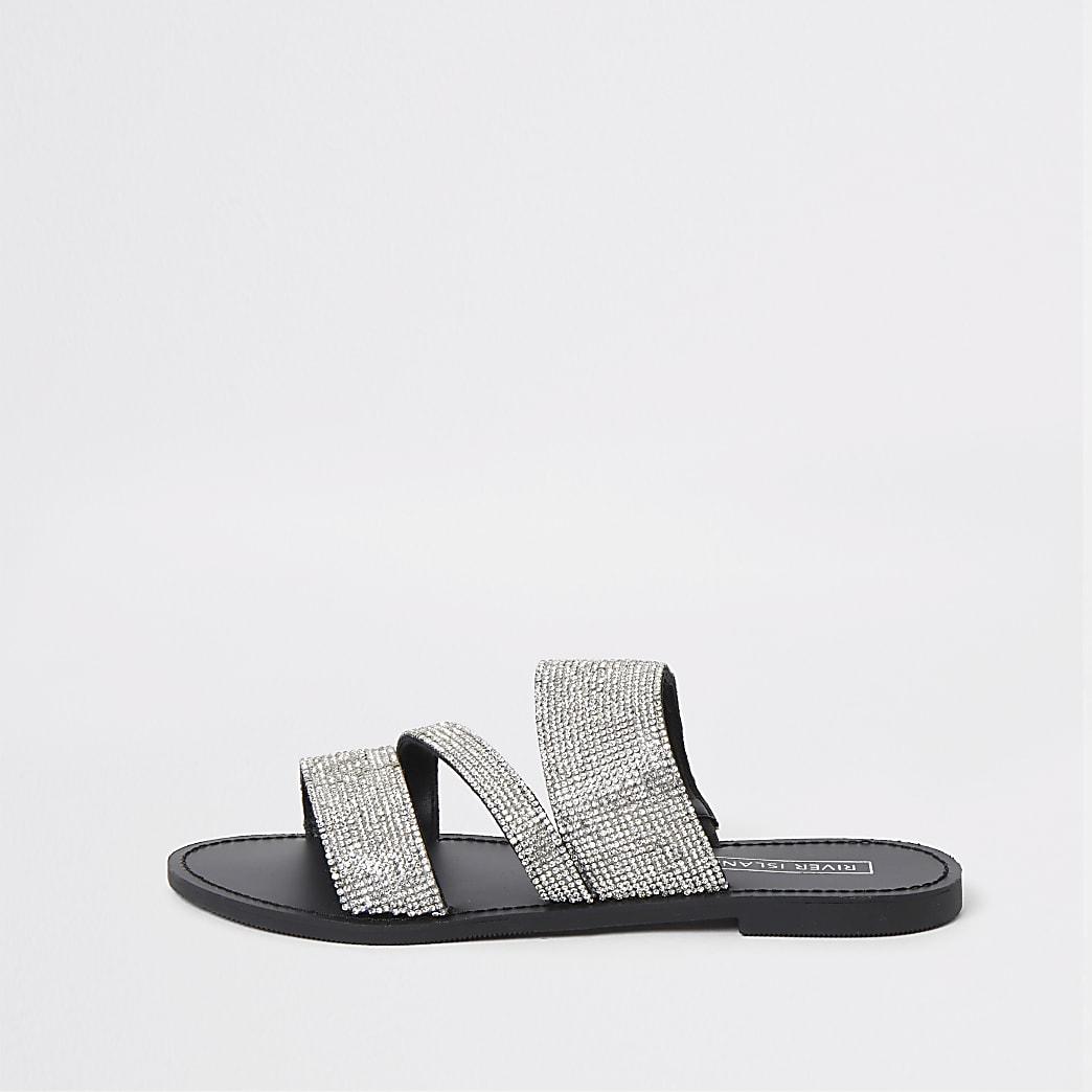 Zilverkleurige sandalen verfraaid met diamantjes