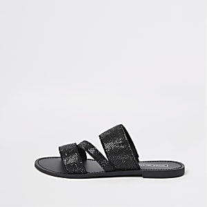 Schwarze, strassverzierte Sandalen