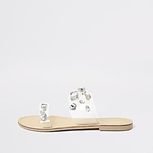 Clear perspex jewel embellished sandals