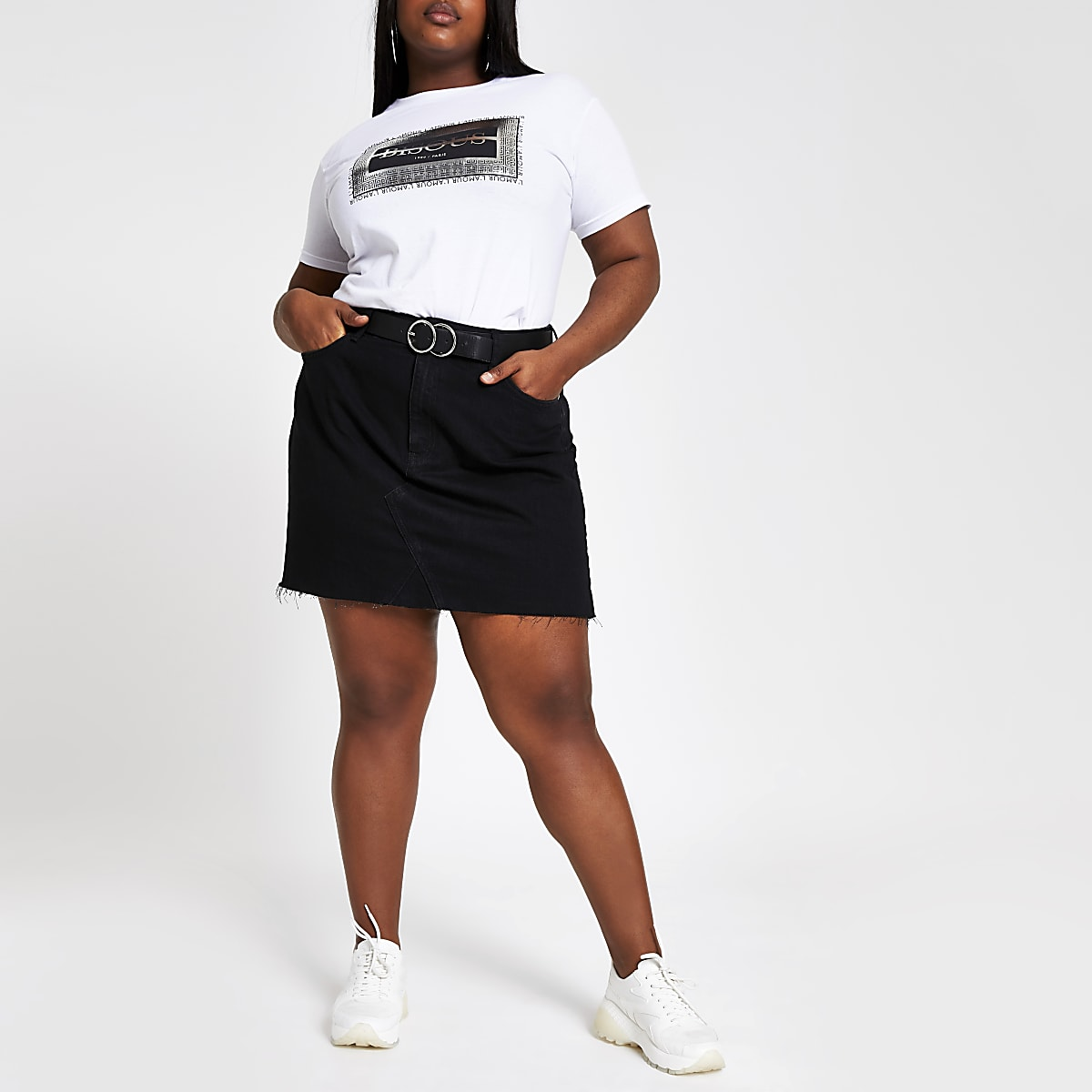 Plus black frayed hem denim mini skirt
