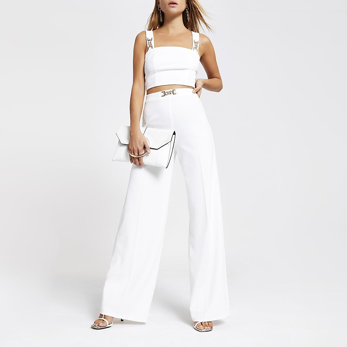 White wide leg trousers