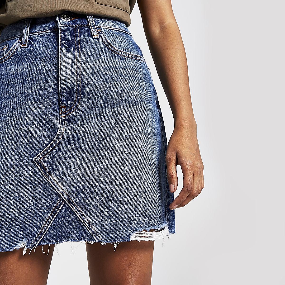 Petite blue denim mini skirt