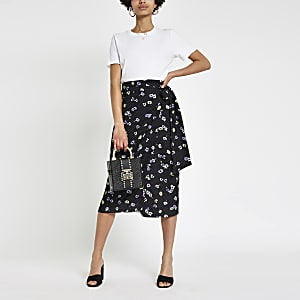 Black floral wrap midi skirt