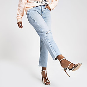 Petite light blue straight leg denim jeans