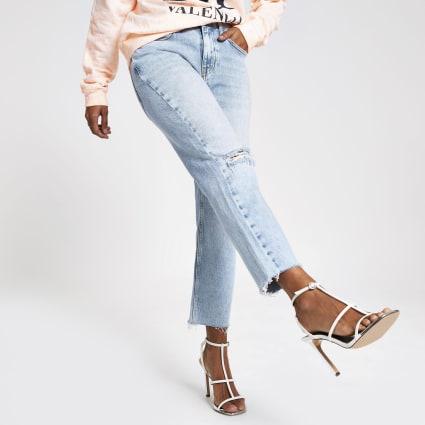 Petite light blue straight leg denim jeans