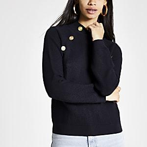 Marineblauwe pullover met knoopdetail en col