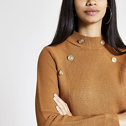 Brown button detail turtle neck jumper