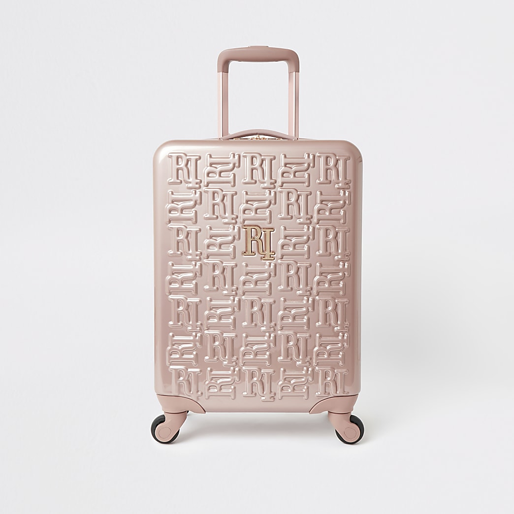 Rose gold RI monogram suitcase