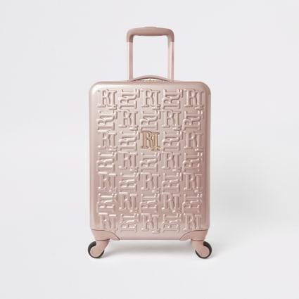 Rose gold RI monogram suitcase