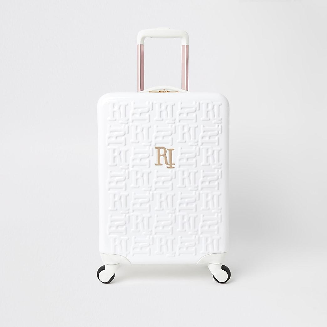 White RI monogram suitcase