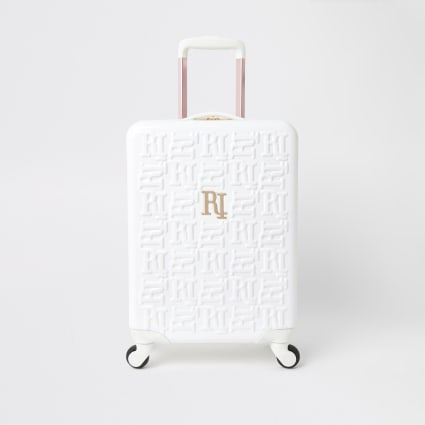 White RI monogram suitcase