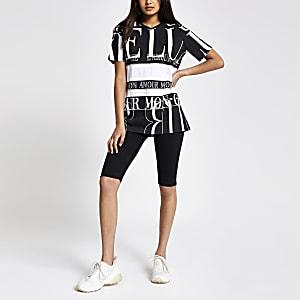 Black embellished printed boyfriend T-shirt