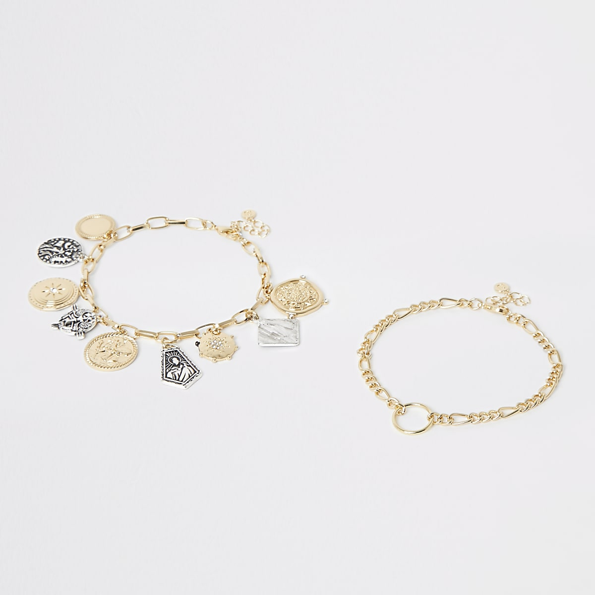 Gold colour charm anklet multipack