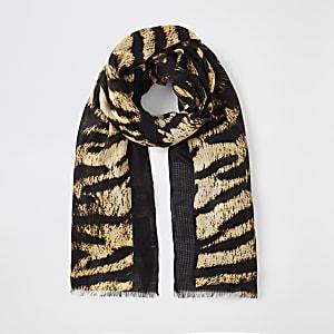 Brauner Schal mit Tiger-Print