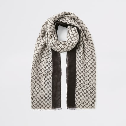 Brown RI monogram scarf