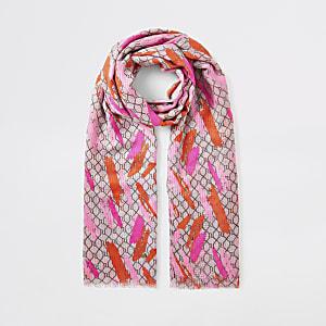 Roze sjaal met RI-monogram