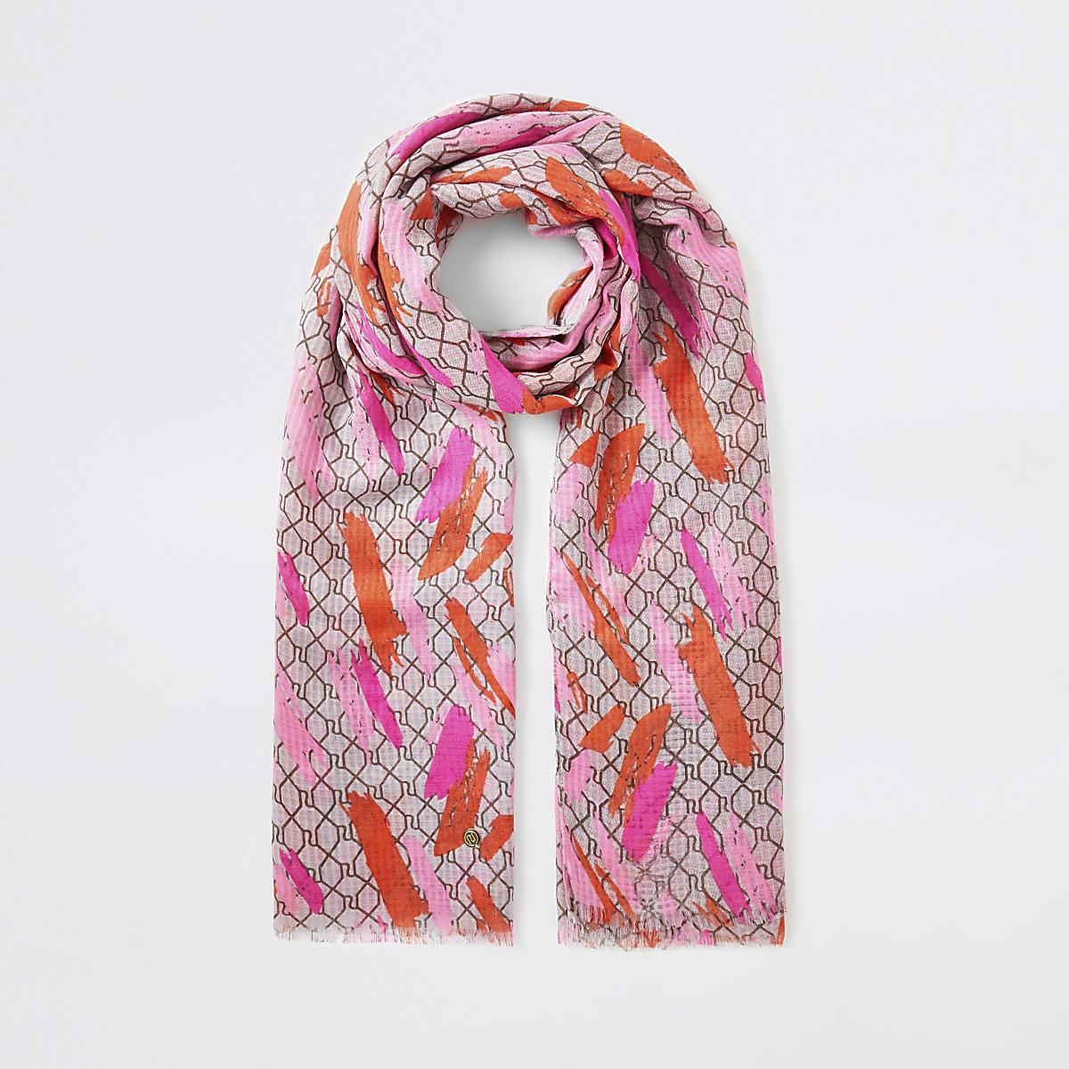 Pink RI monogram scarf