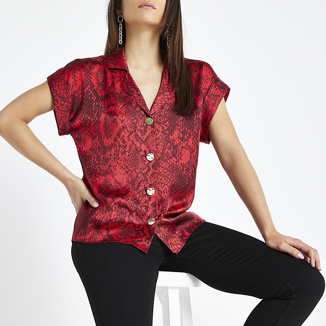 RI Petite - Rood overhemd met slangenleerprint en korte mouwen