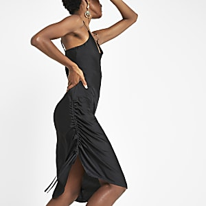 Black ruched side slip dress