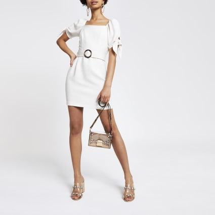 Stone belted puff sleeve dress
