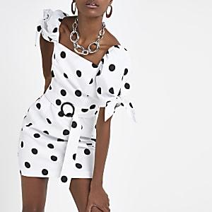 Weißes, gepunktetes Minikleid mit Print