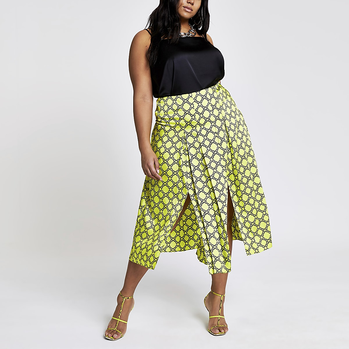 Plus green chain print pleated skirt