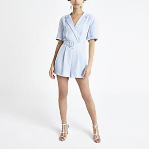 Combi-short bleu clair à ceinture