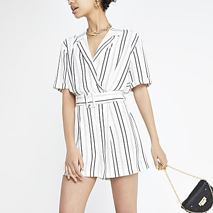 White stripe belted playsuit