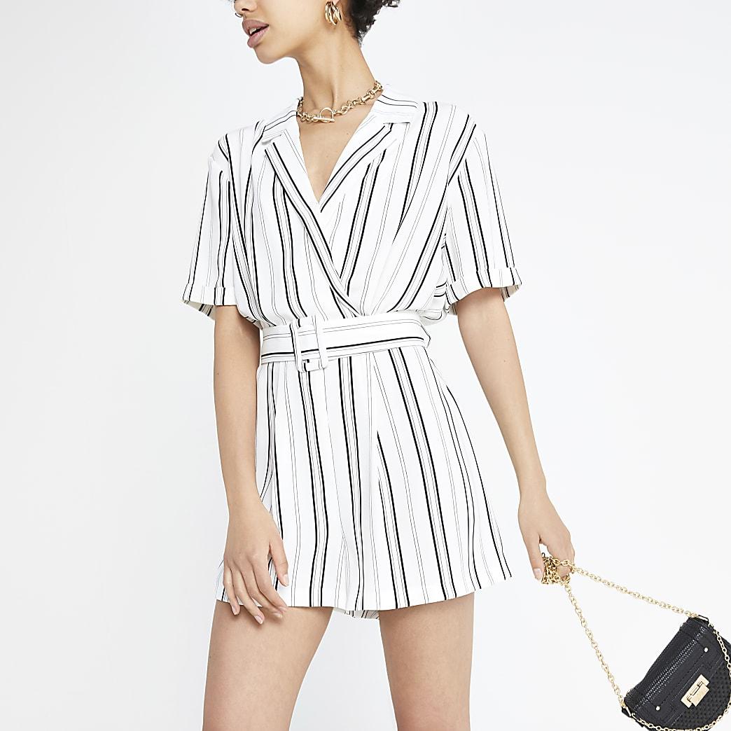 Combi-short rayé blanc à ceinture