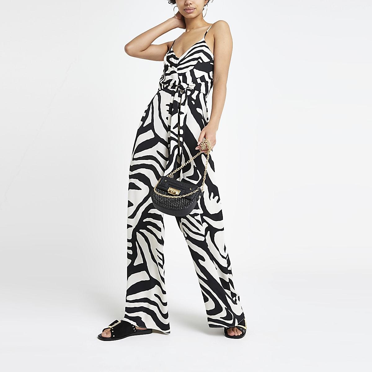 White zebra print jumpsuit