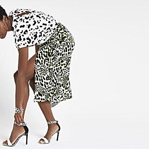 Lime leopard print wrap skirt