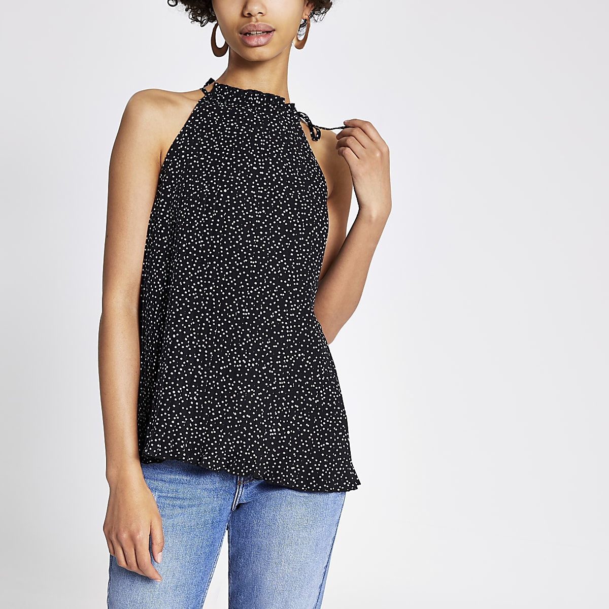 Black spot print plisse halter neck top