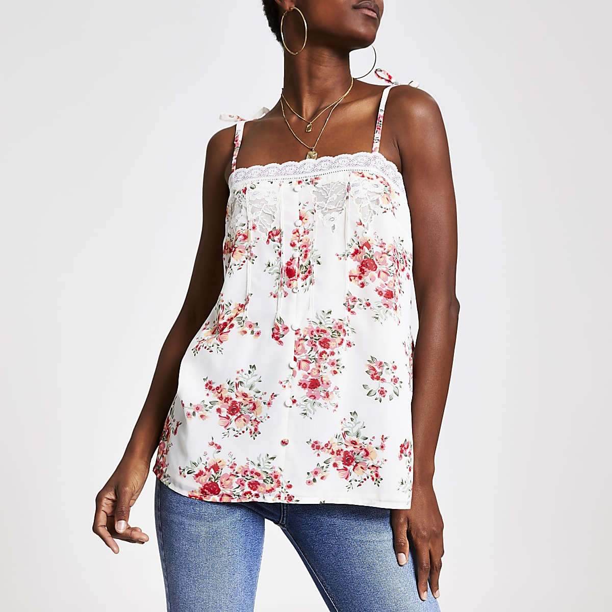 White floral cami top
