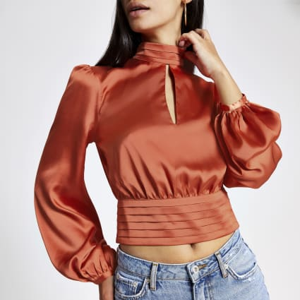 Copper puff sleeve tie back crop top