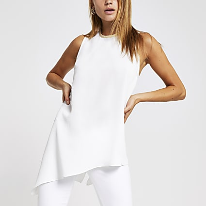 White asymmetric tank top