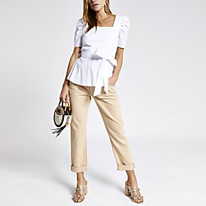 White square neck tie waist top