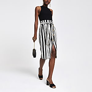 Black stripe tie waist pencil skirt