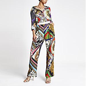 Pantalon large à imprimé multicolore noir