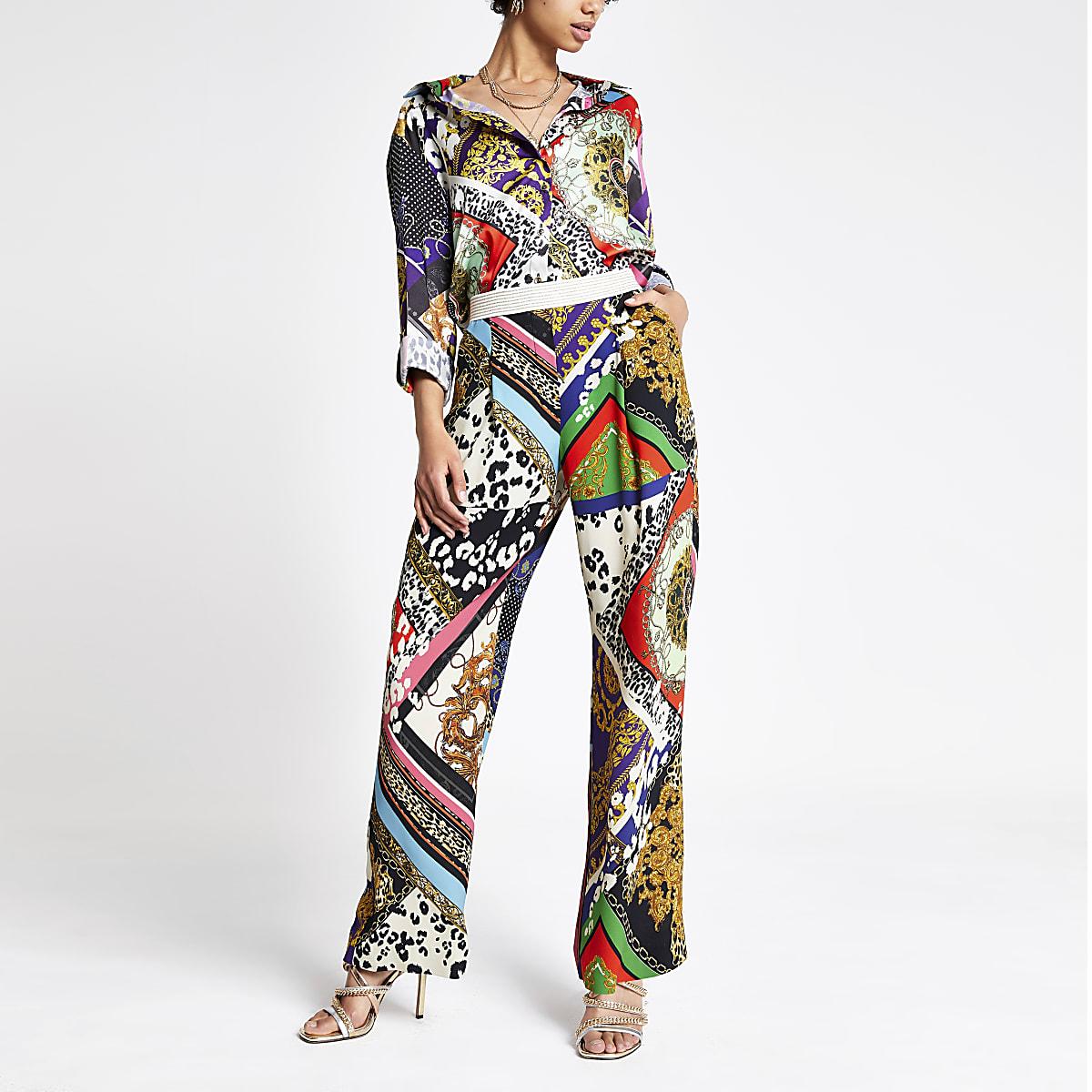 Black multi print wide leg trousers