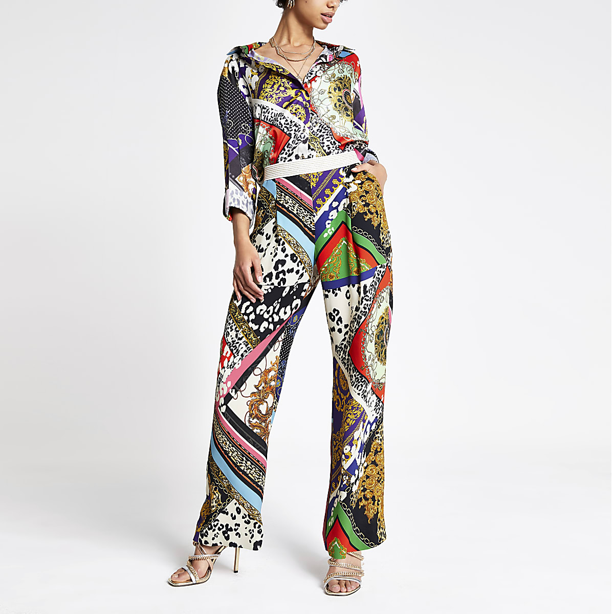 Black multi print wide leg pants