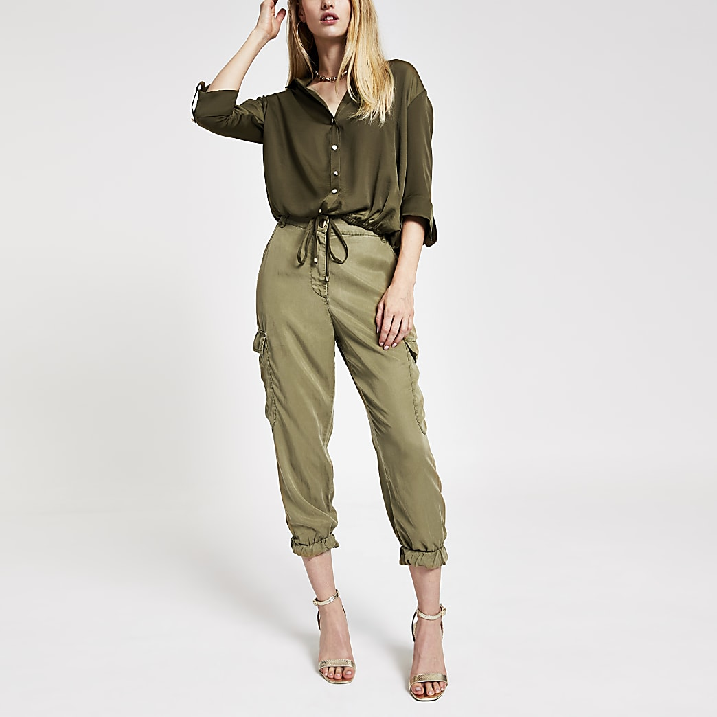 Khaki drawstring long sleeve shirt