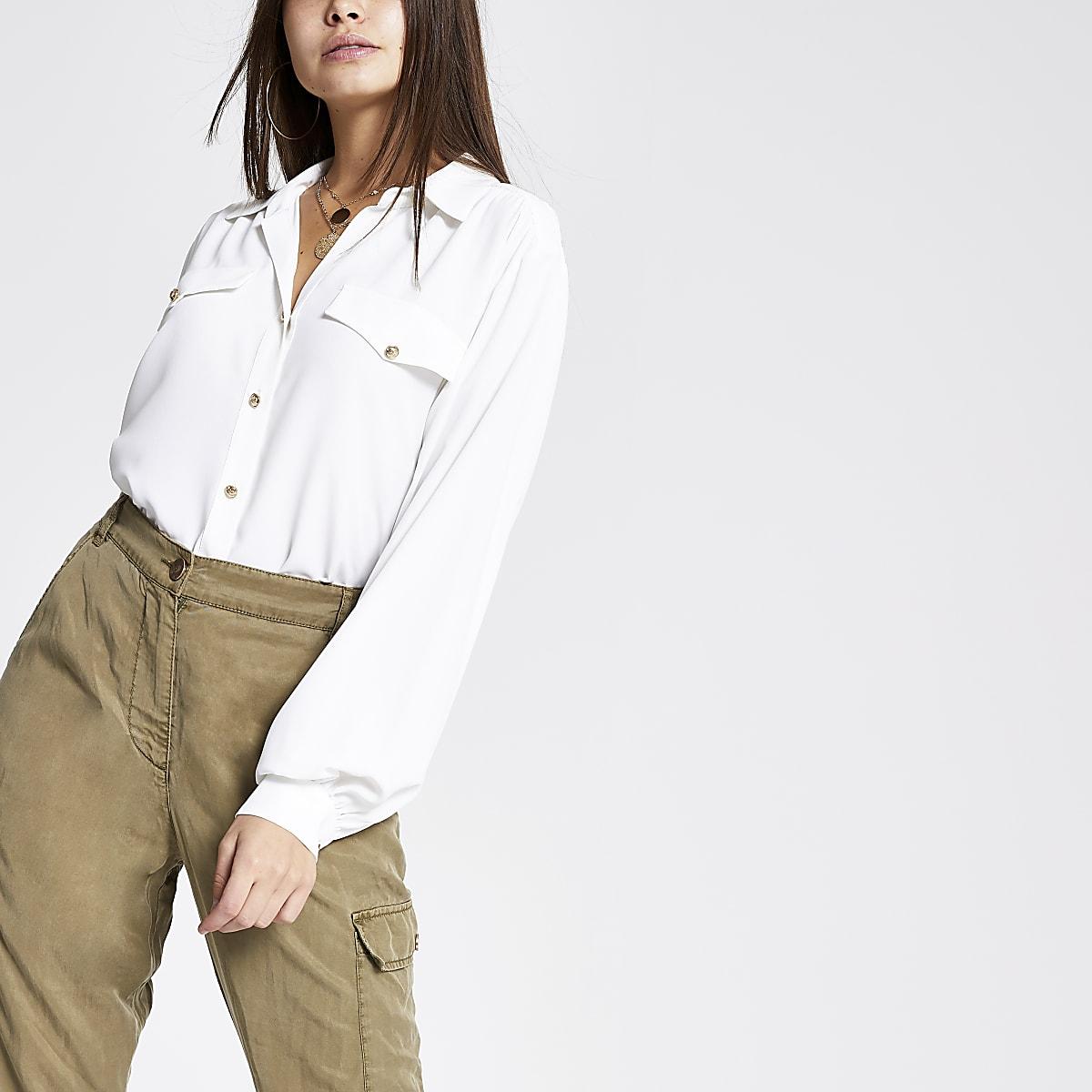 White long sleeve utility shirt