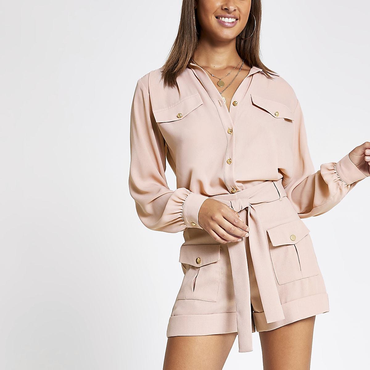 Light pink long sleeve utility shirt